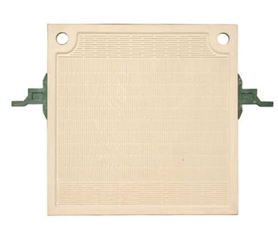 The picture shows one plate and frame filter plate with two feeding holes and two green handles.