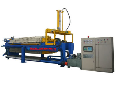 The picture shows one automatic program-controlled filter press, installed with electrical control system.