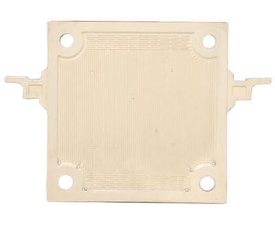 The plate and frame filter plate on the picture has four feeding holes and six drain holes.