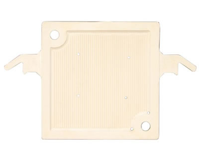 The picture shows one plate and frame filter plate with opposite angle feeding holes.